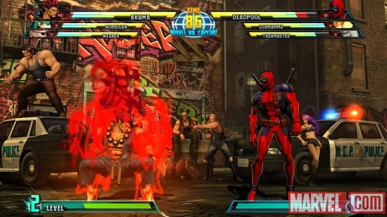 Marvel vs. Capcom 3 screenshot: Akuma vs. Deadpool