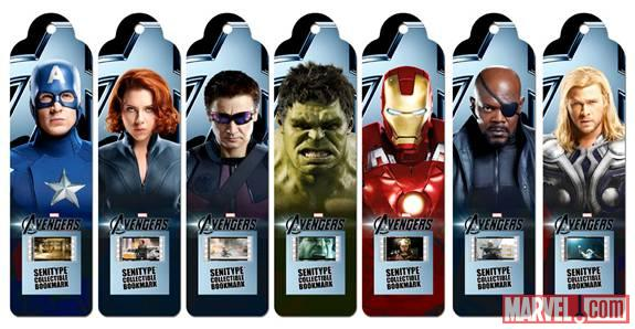 The Avengers bookmarks from Senitype
