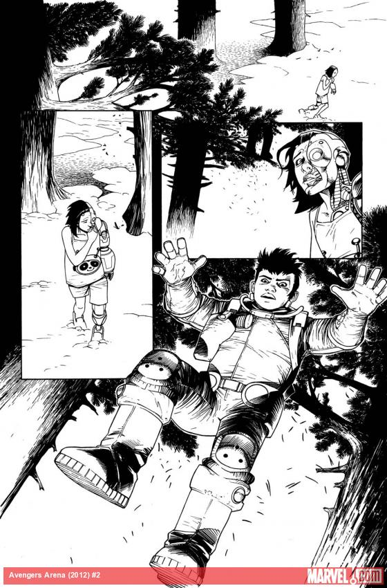 Avengers Arena #2 preview inks by Kev Walker