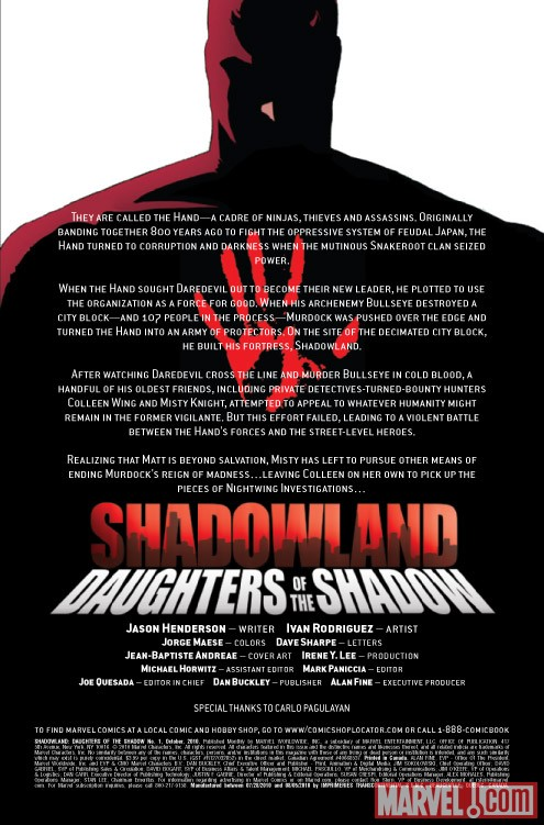Shadowland: Daughters of the Shadow #1 recap page