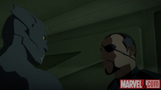 The Black Panther and Nick Fury in Iron Man: Armored Adventures