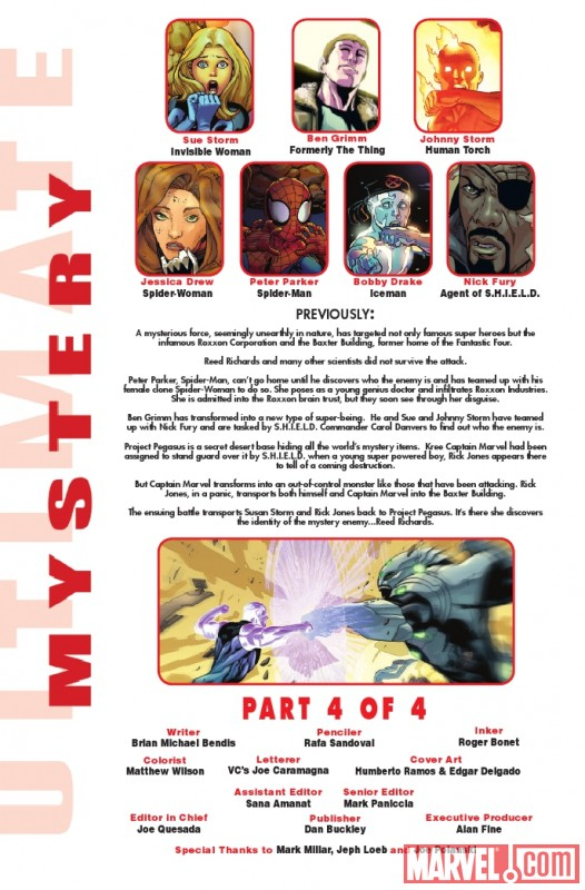 ULTIMATE COMICS MYSTERY #4 recap page