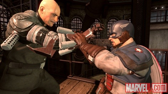 Cap and Baron Strucker battle in Captain America: Super Soldier