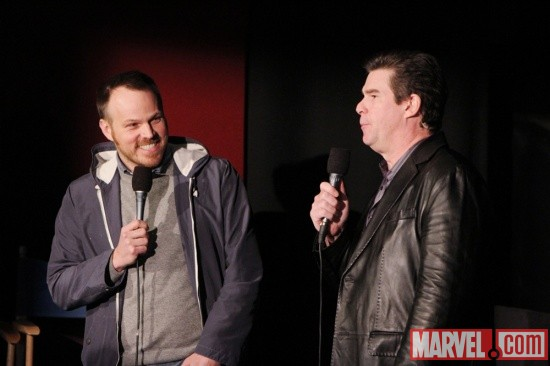 Director Marc Webb & moderator Ralph Garman at the Amazing Spider-Man event in Los Angeles