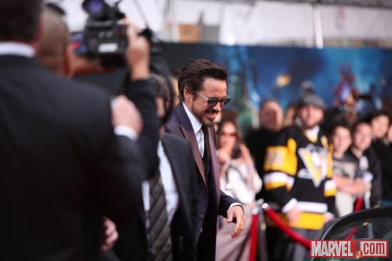 Robert Downey Jr. arriving at the Avengers red carpet premiere