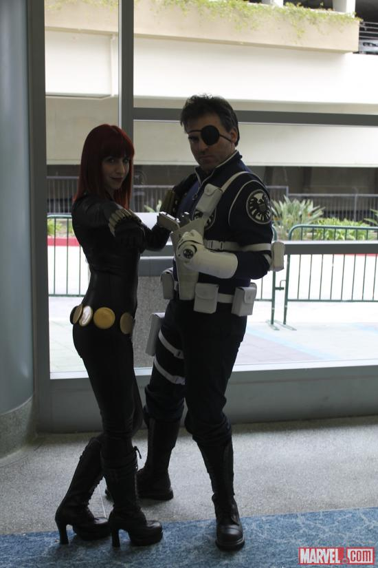 Black Widow and Captain America cosplayers at Wondercon 2012