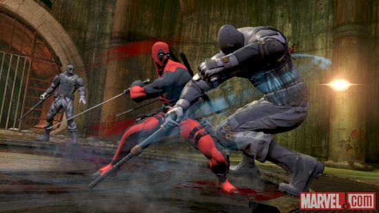 Deadpool slicing through some poor bad guy in his video game
