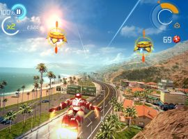 Shellhead soars along the California coast in Iron Man 3 - The Official Game