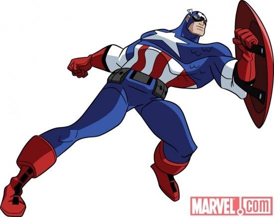 Final color art of Captain America from 'The Avengers: Earth's Mightiest Heroes!'
