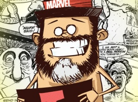 Tom Brevoort by Skottie Young with background by Rick Parker