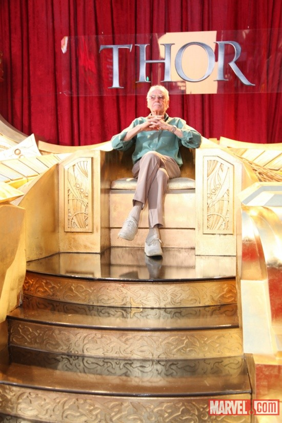 Stan Lee on Odin's Throne at the U.S. premiere of Thor