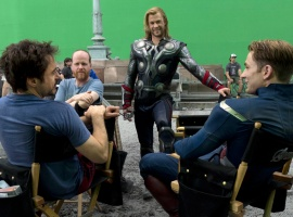 Robert Downey, Jr., director Joss Whedon, Chris Hemsworth and Chris Evans behind the scenes of Marvel's The Avengers