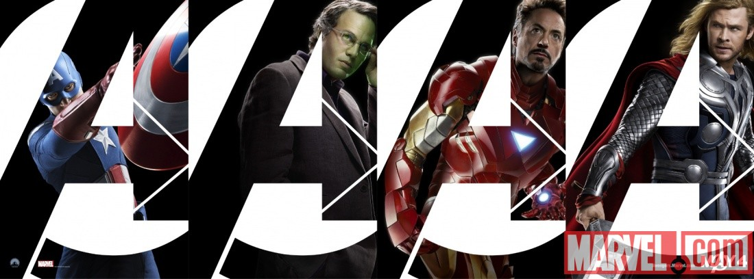 Marvel's The Avengers character banner featuring Captain America, the Hulk, Iron Man and Thor