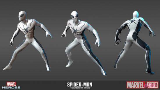 Spider-Man (Future Foundation alternate costume) character render from Marvel Heroes