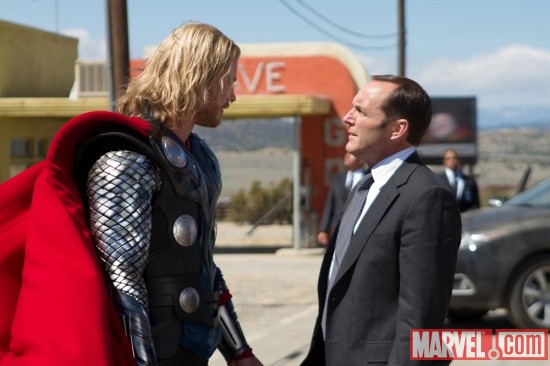 Chris Hemsworth and Clark Gregg star as Thor and Agent Coulson in Thor