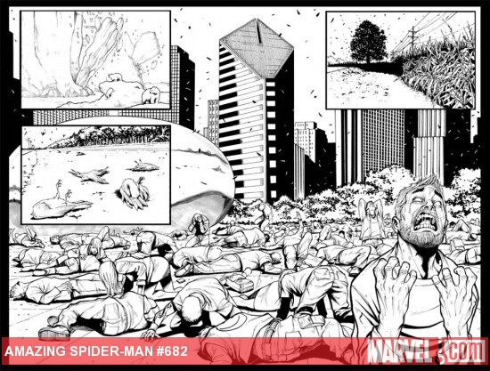 Amazing Spider-Man #682 inked preview art by Stefano Caselli