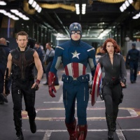 Jeremy Renner, Chris Evans and Scarlett Johansson star as Hawkeye, Captain America and the Black Widow in Marvel's The Avengers