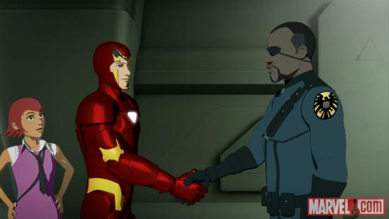 Pepper Potts, Iron Man and Nick Fury in &quot;Iron Man: Armored Adventures&quot;