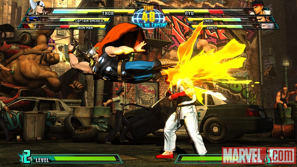 Screenshot of Thor vs. Ryu from Marvel vs. Capcom 3