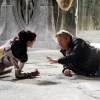Director Kenneth Branagh and Jaimie Alexander (Sif) behind the scenes of Thor