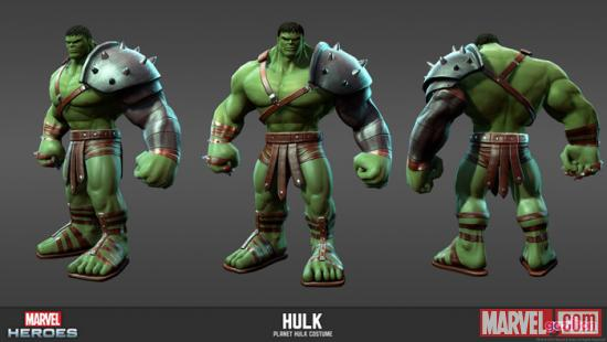 Hulk (Planet Hulk alternate costume) character render from Marvel Heroes