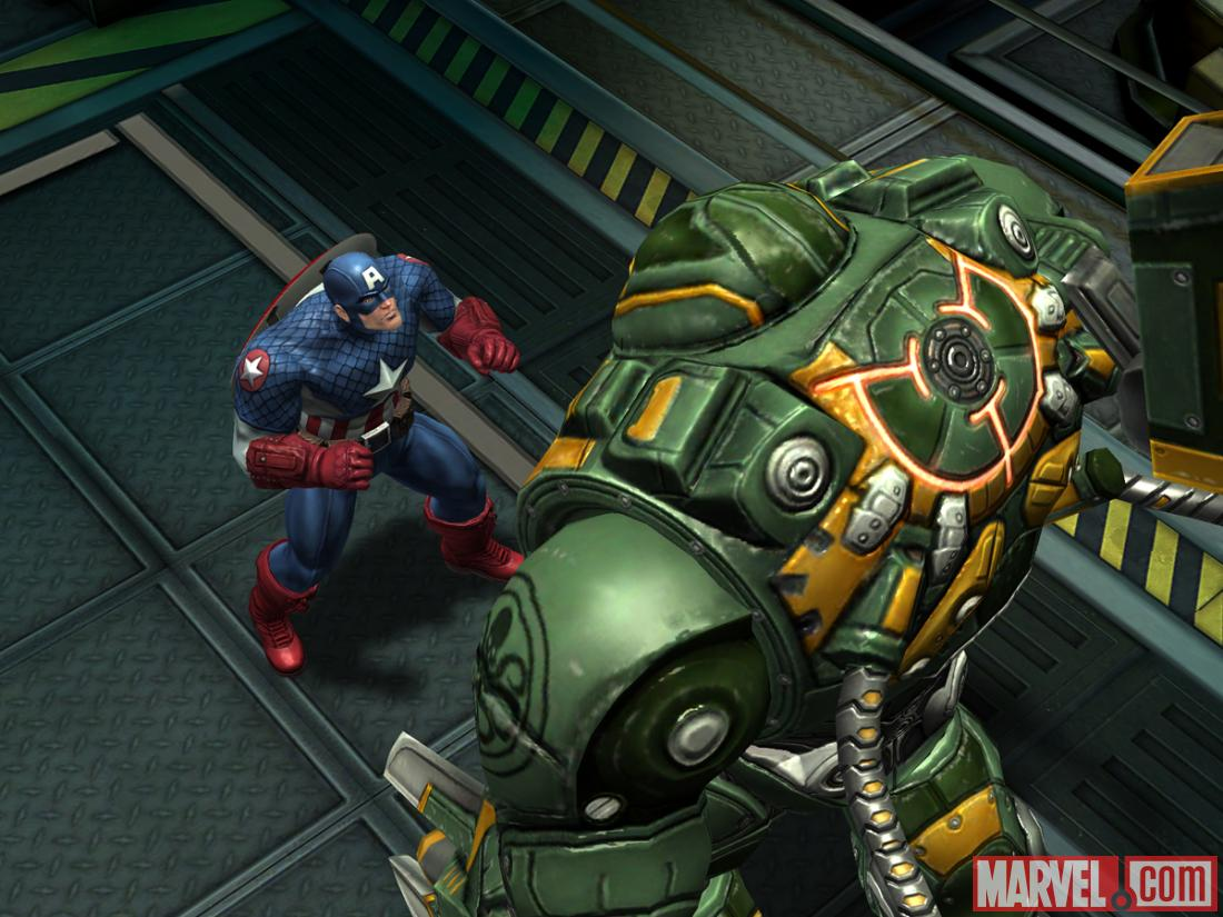 Screenshot of Captain America vs. a HYDRA War Drone in Avengers Alliance
