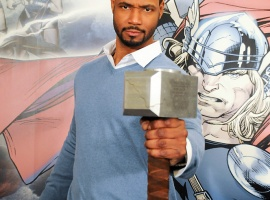 Isaiah Mustafa, host of our Thor Red Carpet coverage