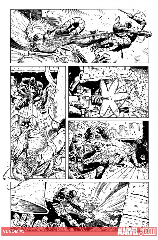 Venom (2011) #5 preview inks by Tony Moore