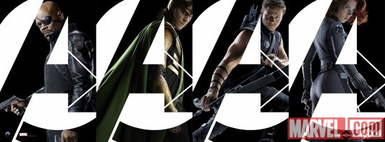 Marvel's The Avengers character banner featuring Nick Fury, Loki, Hawkeye and Black Widow