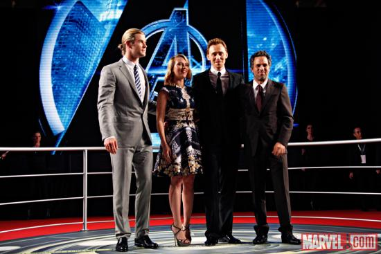 Chris Hemsworth, Scarlett Johansson, Tom Hiddleston and Mark Ruffalo at the red carpet premier of Marvel's The Avengers in Rome
