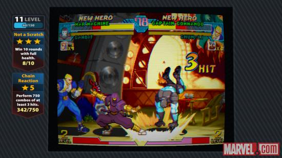 Screenshot of War Machine vs. Captain Commando in Marvel vs. Capcom Origins