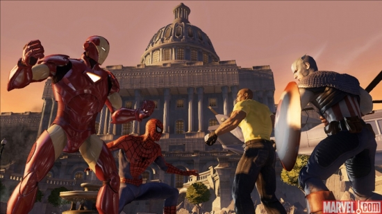 Iron Man and Spider-Man take on Captain America and Luke Cage