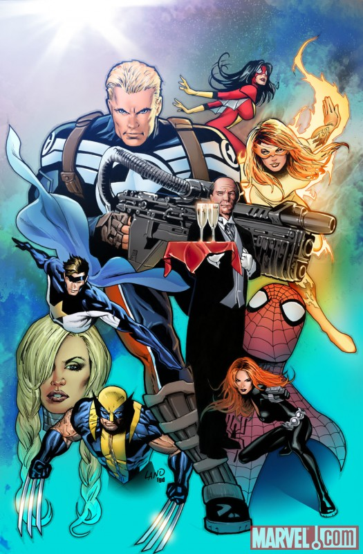 Image Featuring Edwin Jarvis, Avengers, Black Widow, Captain America, Firestar, Spider-Woman (Jessica Drew), Spider-Man, Wolverine