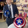 Chris Evans Checks Out Hasbro's Captain America Toy Line at Toy Fair 2011