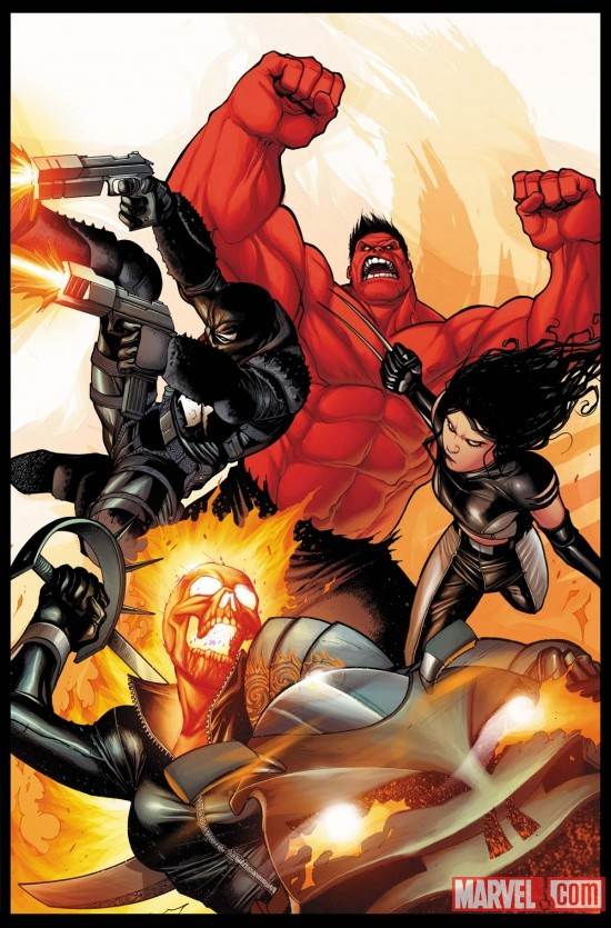 Venom, Red Hulk, X-23 and Ghost Rider by Stefano Caselli