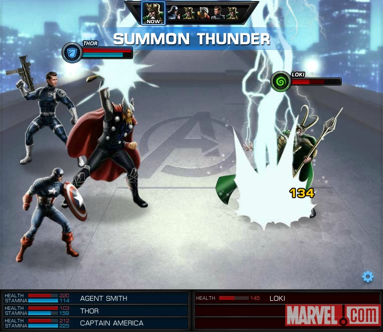 Captain America and Thor vs. Loki screen shot from Marvel: Avengers Alliance