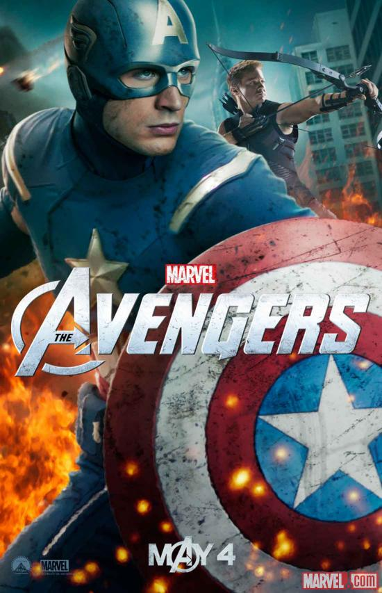 New Marvel's The Avengers poster featuring Captain America & Hawkeye