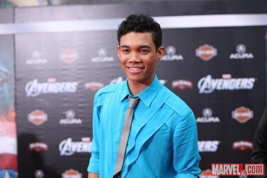 Roshon Fegan from the Disney Channel on the Avengers red carpet