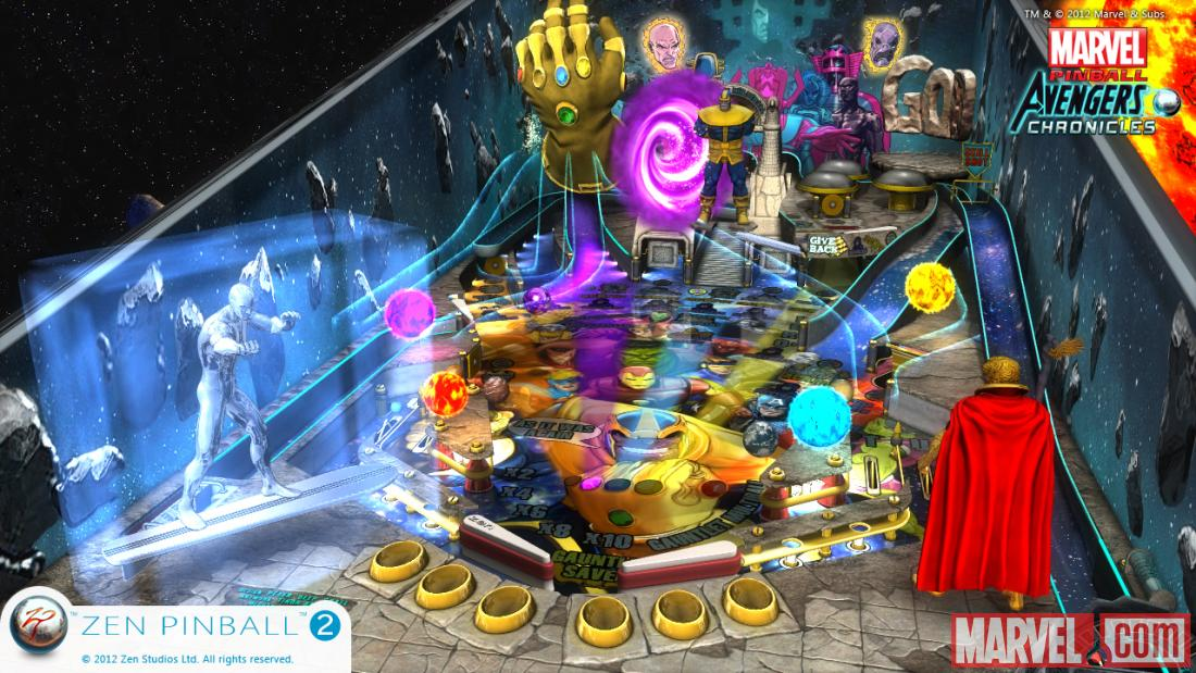 Screenshot from Marvel Pinball: The Infinity Gauntlet for the Wii U.