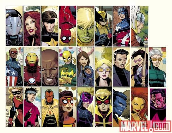Image Featuring Patriot, Hawkeye (Kate Bishop), Avengers, War Machine (James Rhodes), Stature, Beast, Spider-Woman (Jessica Drew), Speed, Black Widow, Spider-Man, Mockingbird, Luke Cage, Thor, Hank Pym, Doctor Strange, Tigra (Greer Nelson), Hawkeye, Vision, Hulkling