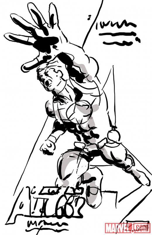 Steve Rogers preliminary promo sketch by Mike Deodato