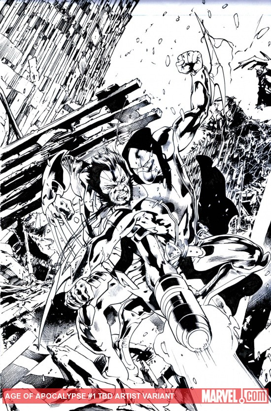 Age of Apocalypse #1 inked variant cover by Bryan Hitch