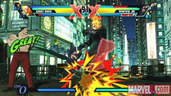 Ghost Rider, Haggar and Viewtiful Joe in Ultimate Marvel vs. Capcom 3 for the PlayStation Vita