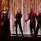 Thor, Black Widow and Spider-Man cosplayers at El Capitan Theatre's midnight screening of Marvel's The Avengers in Hollywood