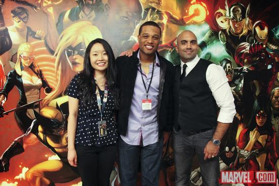 Yankees Second Baseman Robinson Cano with Marvel's Arune Singh and Michelle Marasigan