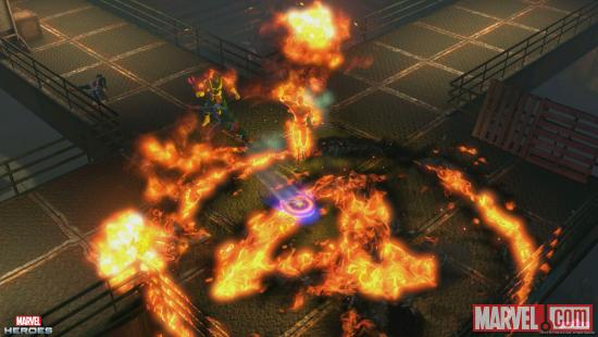 Screenshot of Captain America and Human Torch in Marvel Heroes