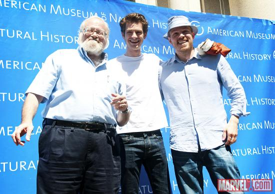 The Amazing Spider-Man Director Marc Webb, Actor Andrew Garfield and Norman Plotnick, curator of the exhibition Spiders Alive