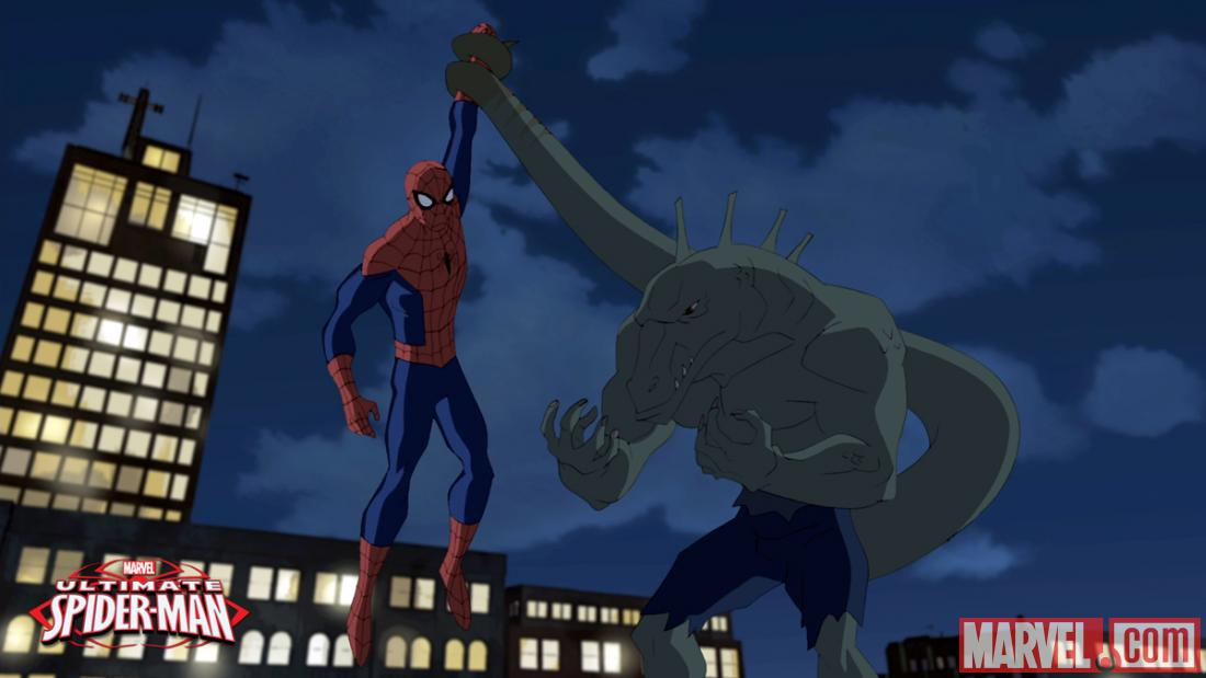 Screenshot of Spider-Man & the Lizard from the Season 2 premiere of Ultimate Spider-Man