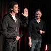 Andrew Garfield (Peter Parker/Spider-Man) and moderator Josh Horowitz at the Amazing Spider-Man event in New York