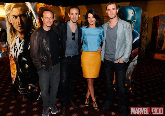 Clark Gregg, Tom Hiddleston, Cobie Smulders, and Chris Hemsworth at screening